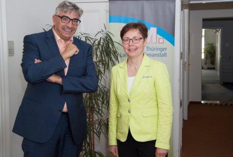 Thüringens stellvertretende Ministerpräsidentin, Finanzministerin Heike Taubert besucht TLM